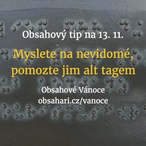 Obsahový tip na 13. 11. – Mezinárodní den nevidomých – alt tag jim usnadní čtení.